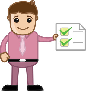 Work Done - Man Holding A Checklist - Business Cartoon
