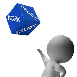 Work Study Dice Showing Choice Of Working Or Studying