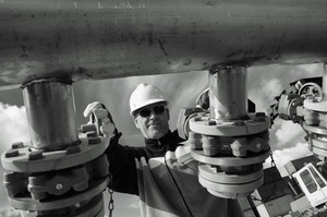 worker, engineer in close-up shot