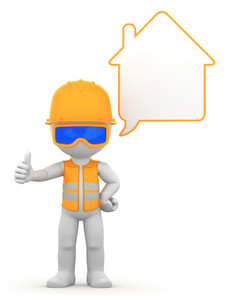 Worker With Speech Bubble.