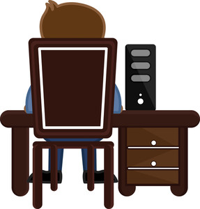 Working On Computer - Office Character - Vector Illustration