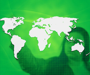 World Business Concept Green Background