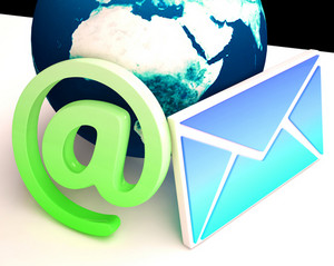 World Email Shows Communication Worldwide Through Www