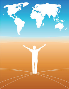 World Map - Person With Open Arms