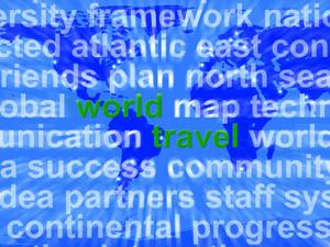 World Travel Words On Map Background Showing International Traveling