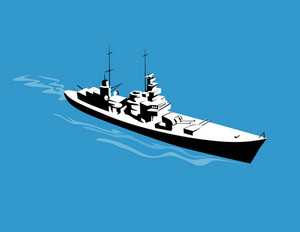 World War Two Battleship Warship Cruiser Retro