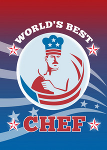 World's Best American Chef Greeting Card Poster