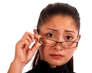 Worried Woman Wearing Glasses