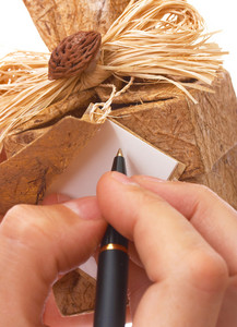 Writing A Message On A Gift Tag