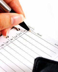 Writing In A Daily Planner Organizer