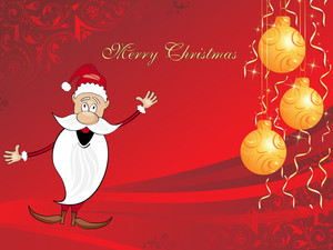 Xmas Background With Cartoon Santa