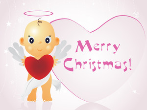 Xmas Background With Cute Cupid Holding Heart