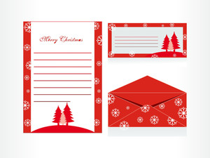Xmas Envelope And Letter Head In Red With Tree And Snow