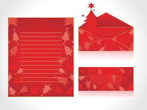 Xmas Envelope And Letter Head In Red With Tree