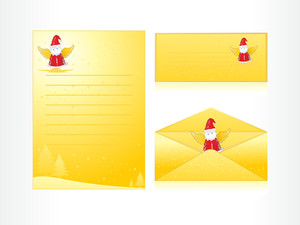Xmas Envelope And Letter Head In Yellow With Cartoon