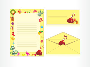 Xmas Envelope And Letter Head In Yellow With Gifts