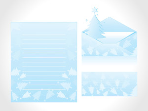 Xmas Letter Head And Envelope In Blue With Tree