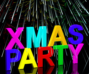 Xmas Party Words With Fireworks Showing A Christmas Celebration