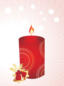 Xmas Stylized Candle With Bells, Background