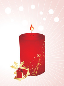 Xmas Stylized Candle With Bells