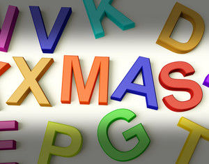 Xmas Written In Plastic Kids Letters