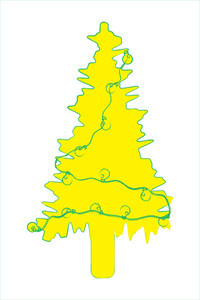 Yellow Abstract Christmas Tree
