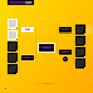 Organization Chart Template On Bright Yellow Background In Modern Corporate Style. Eps10