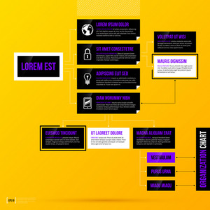 Organization Chart Template On Bright Yellow Background. Eps10