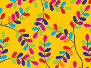 Yellow Background With Colorful Leaves