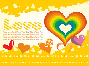 Yellow Background With Rainbow Heart And Macro