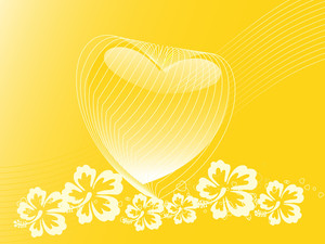 Yellow Banner Of Heart Floral Theme