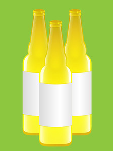 Yellow Beer Bottles Vectors