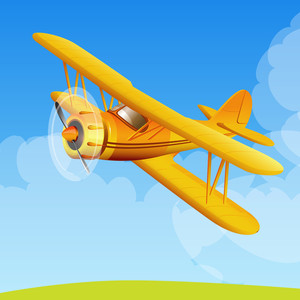 Yellow Biplane. Vector.