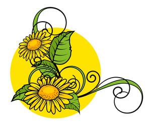 Yellow Blossom Flourish Corner Frame