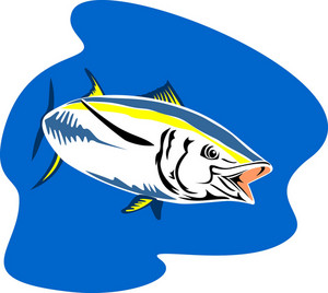 Yellow Fin Tuna Fish Retro