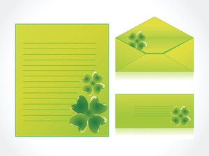 Yellow Green Clover Illustration Postcard