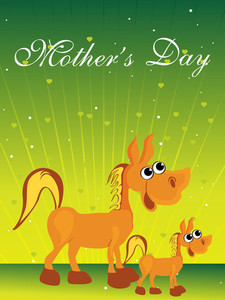 Yellow Green Rays Background With Horse