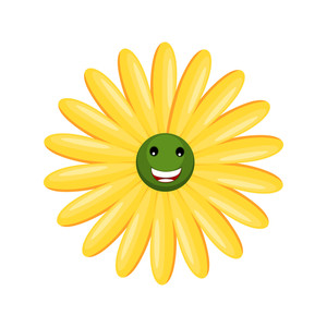 Yellow Happy Smiley Flower