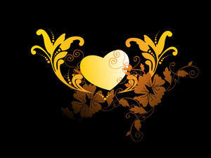 Yellow Heart With Filigree Ornament