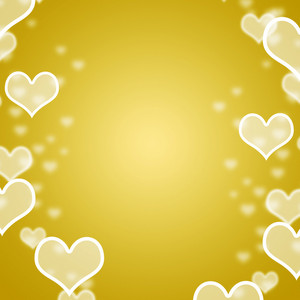 Yellow Hearts Bokeh Background With Blank Copyspace Showing Love Romance And Valentines
