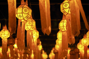 Yellow lanterns at night festival in Chiang Mai