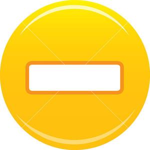 Yellow Minus Sign Icon On White Background