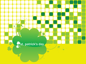 Yellow Mosaic Background With Shamrock 17 March