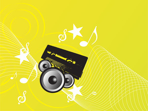 Yellow Music Background With Speaker And Cassette