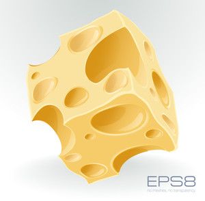 Yellow Porous Cheese Cube On White. Vector.