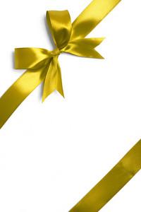 Yellow ribbon isolated on white background
