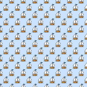 Yellow Sailboat Pattern On A Blue Background