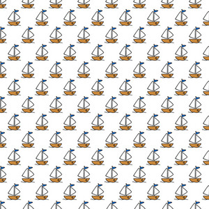 Yellow Sailboat Pattern On A White Background