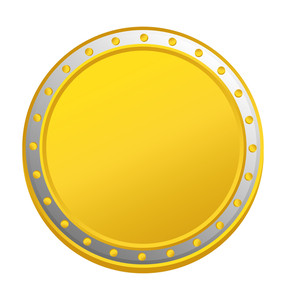 Yellow Silver Coin Vector