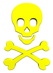 Yellow Skull And Crossbones Isolated On White.